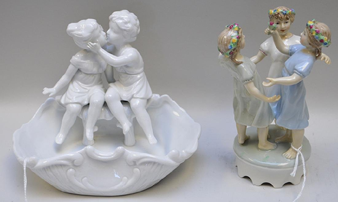 Two German Porcelain Figural Groups One group depicting