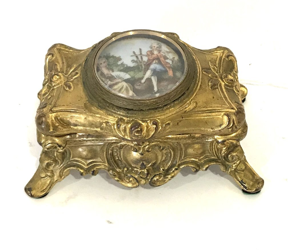 Antique French Gilt Metal Box Centered by a Porcelain