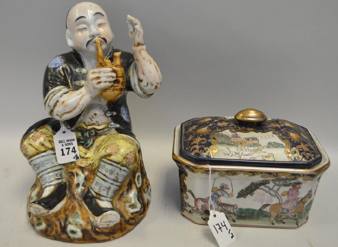 Two Pieces of Chinese Porcelain - One figure of a man