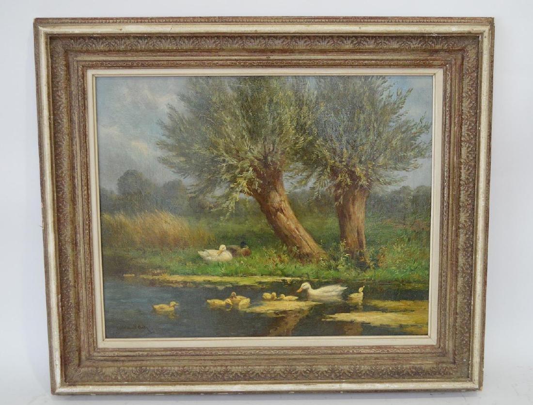 Constant Artz (1870-1951 Dutch) Family of Ducks, oil on