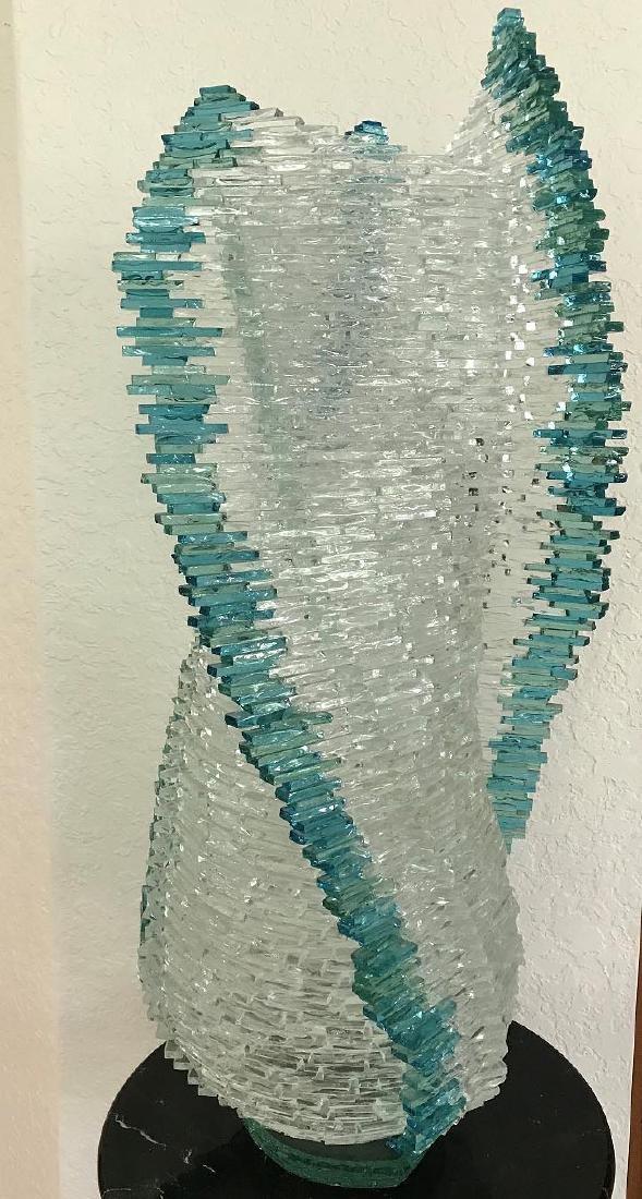 "Modern Art Glass ""Cyclone"" sculpture signed GVADI. 32 x"