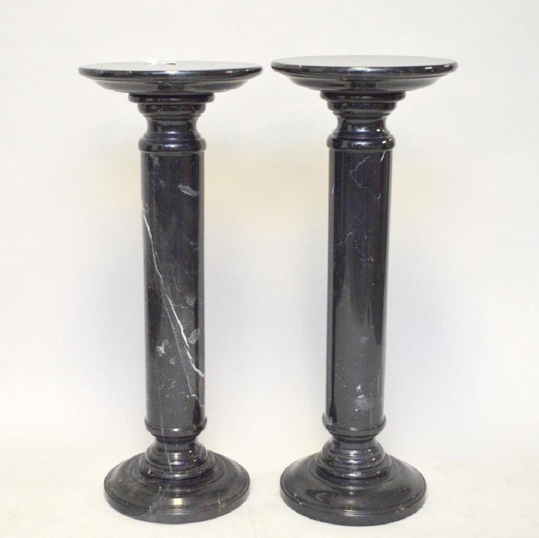 Pr. Round Marble Pedestals black w/ grey lines.  40