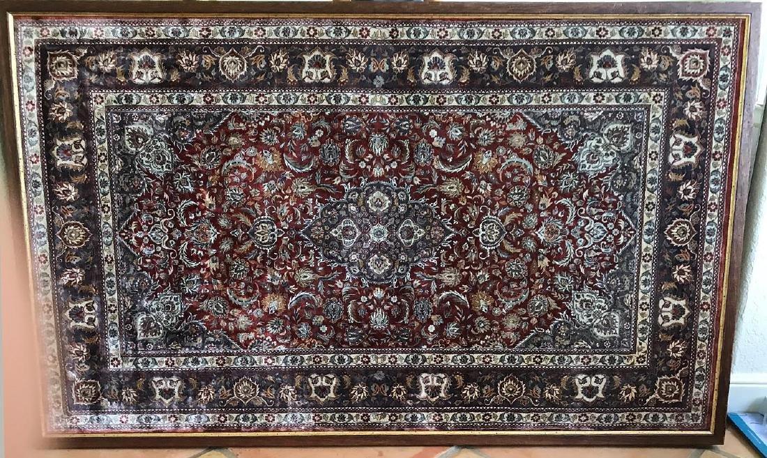 Oriental Silk Carpet, 63 x 39 inches. Framed.