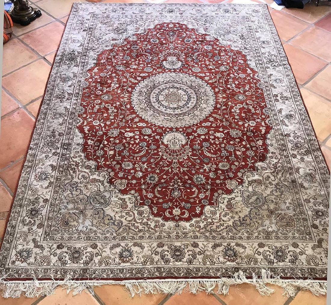 Oriental Silk Carpet, 105 x 73 inches.