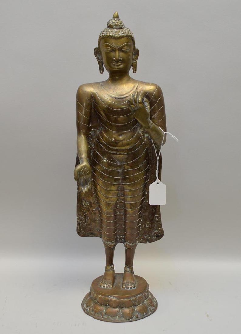 """Sino-Tibetan Bronze Standing Varada Mudra Buddha 20"""" H"""
