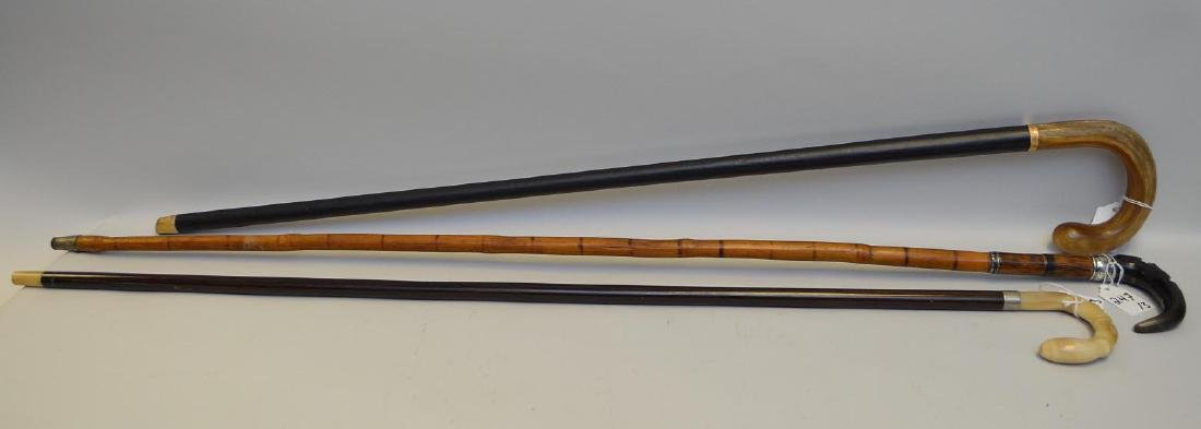 Three Antique Horn-Topped Walking Sticks - One bamboo &