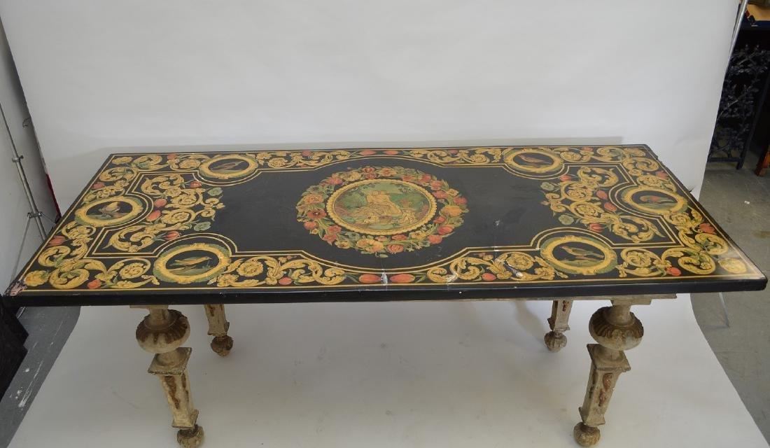 Scagliola Paneled Slate Top Table On 18th Century base