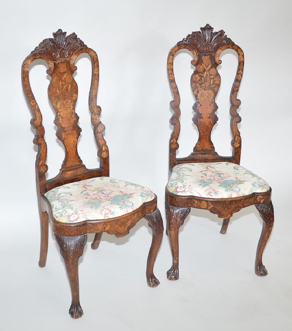 Pair inlaid Dutch marquetry 18th c. side chairs (repair