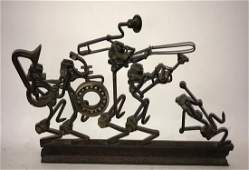 Welded Metal Found Object Sculpture of a Marching Band