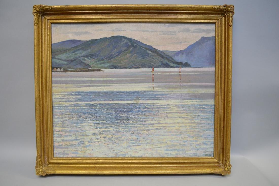 19th Century English mountain lake scene, oil on board,