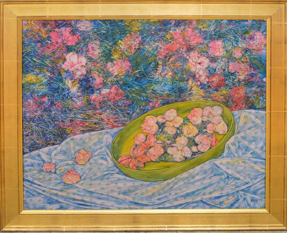 Andrea Quarto (ITALIAN, 1959) oil on canvas, flowers in