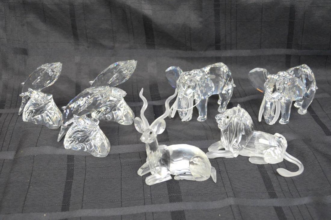 Collection of 7 Swarovski crystal figures, 2 Elephants