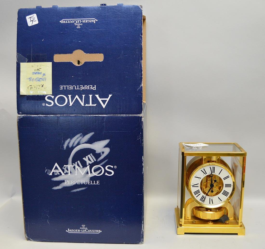"Jaeger Le Coultre Atmos clock, original box, 8 3/4""h x"