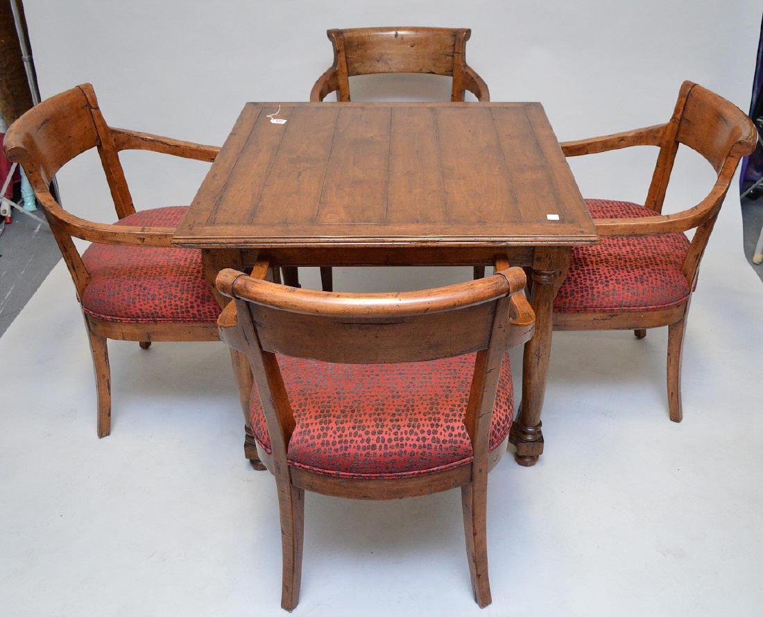 """Fruitwood games table with 4 arm chairs, 29""""h x 37""""w"""