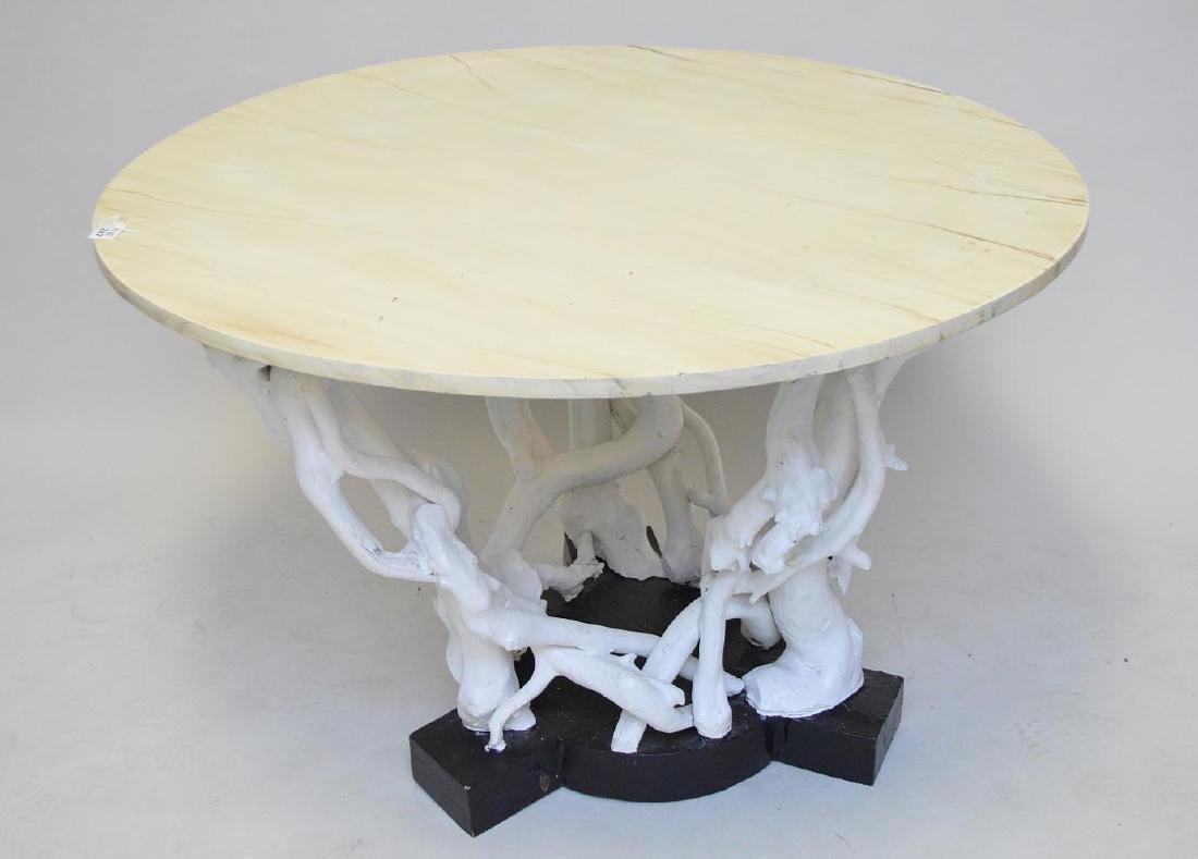 Driftwood painted table base with faux painted marble