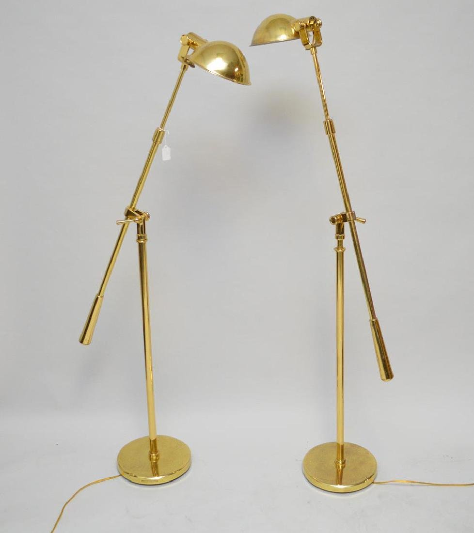 Pair brass Ralph Lauren equilibrium floor lamps, 5 feet