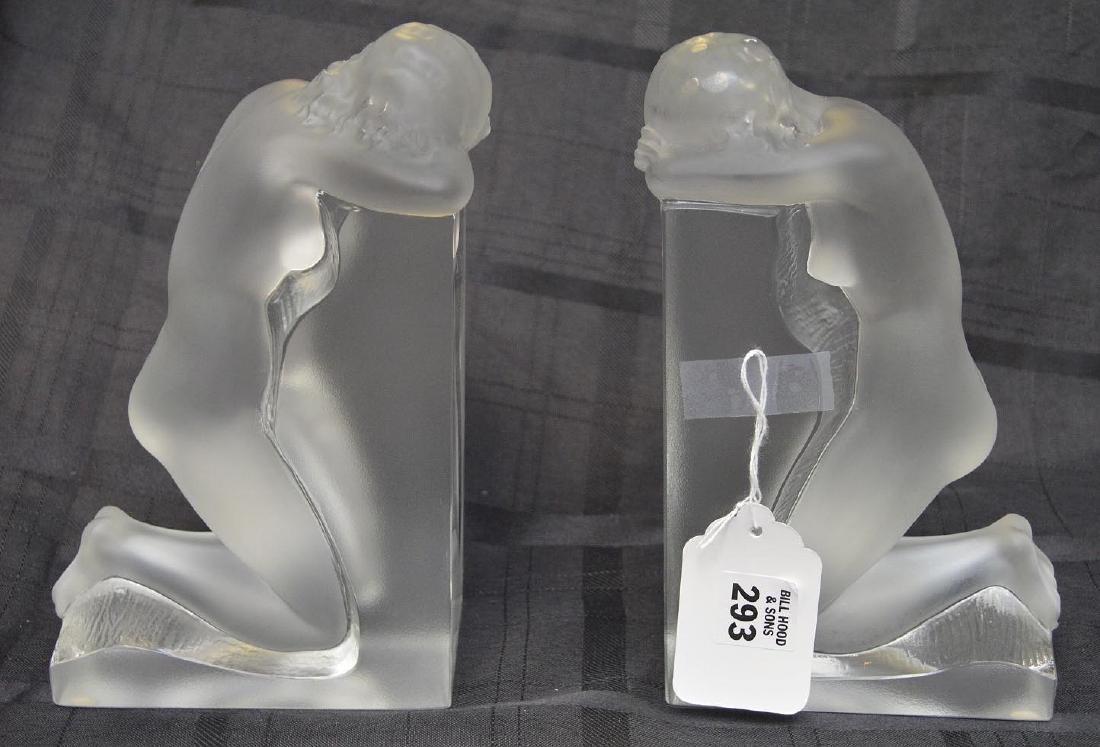 "Lalique ""Reverie"" kneeling nude sculpture bookends, 9""h"
