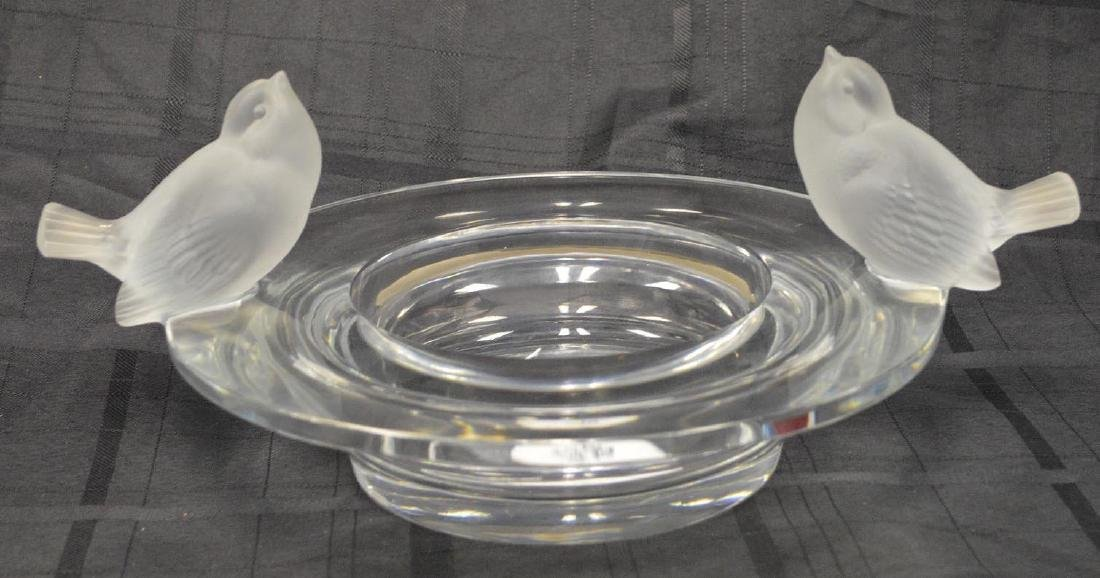 "Lalique centerpiece bird bath bowl, 6""h x 15""dia"