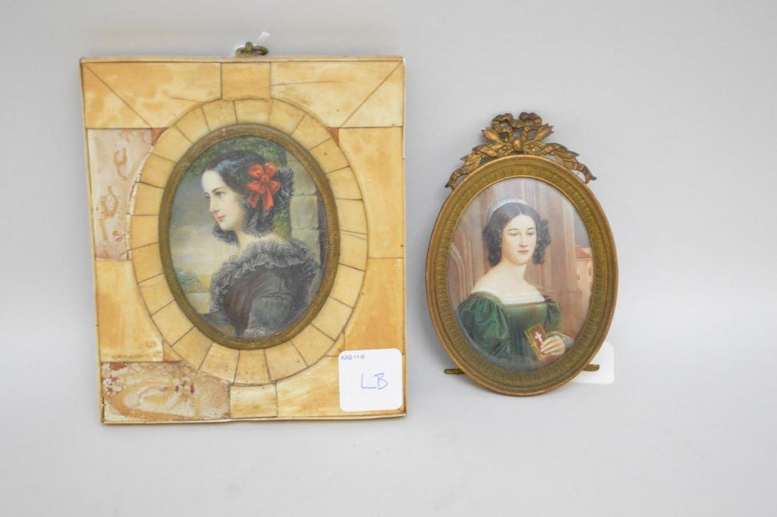 Two Antique Hand-Painted Portraits of Dark-Haired