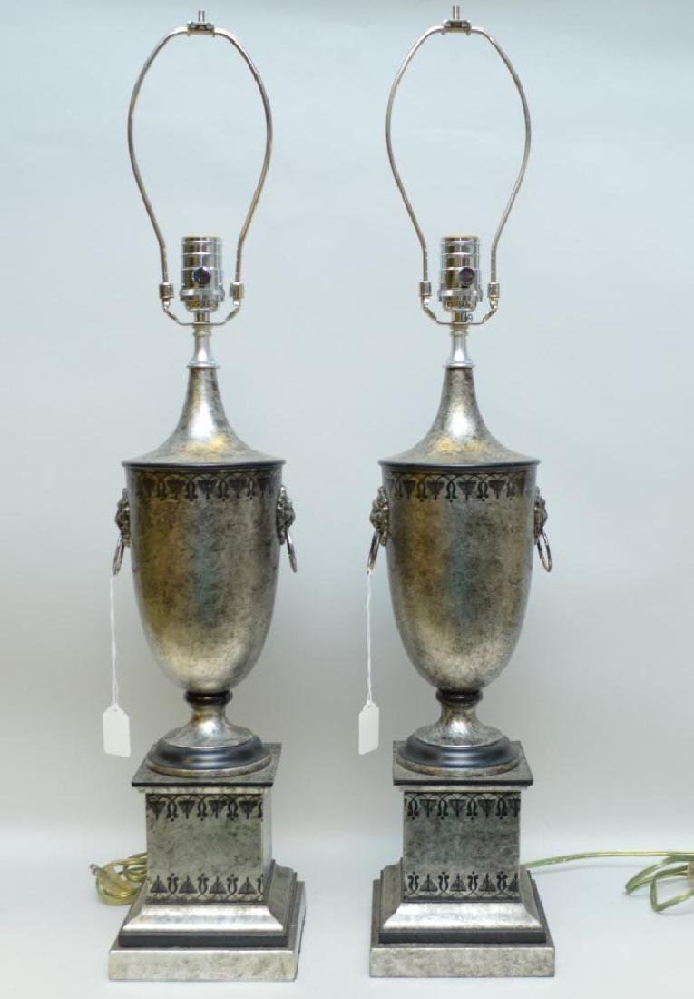 Pair of Silver & Black Painted Metal Urn Form Lamp,