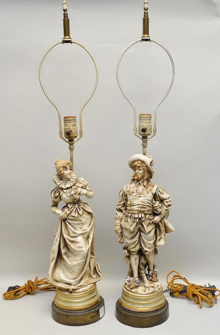 Pair of Ceramic Figural Lamps, depicting a couple in