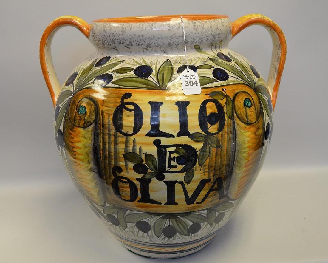 "Large Polychrome Terracotta ""Olio de Oliva"" Jar Planter"