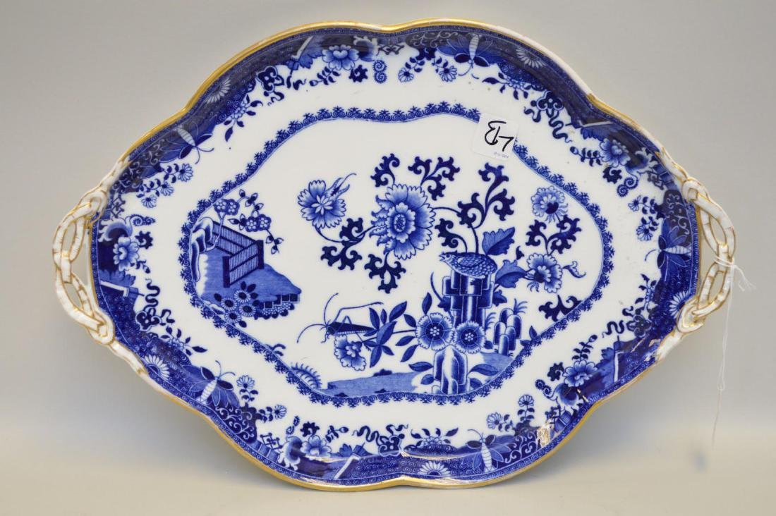 Blue Willow Copeland Porcelain Platter, with gilt