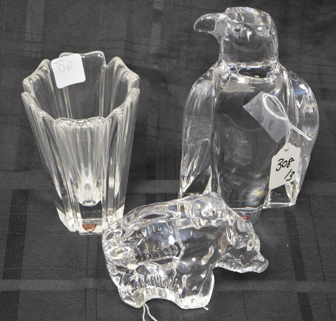 Three Orrefors Sweden Crystal - Paperweights & Vase,