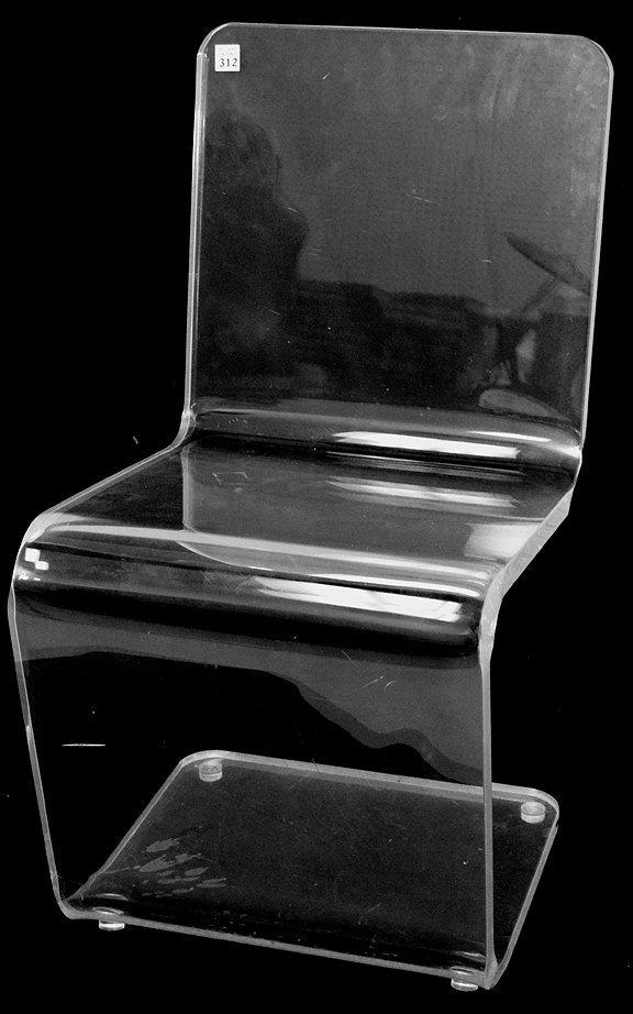 """Lucite Z form side/desk chair, 32""""h x 17""""w x 17""""d (good"""