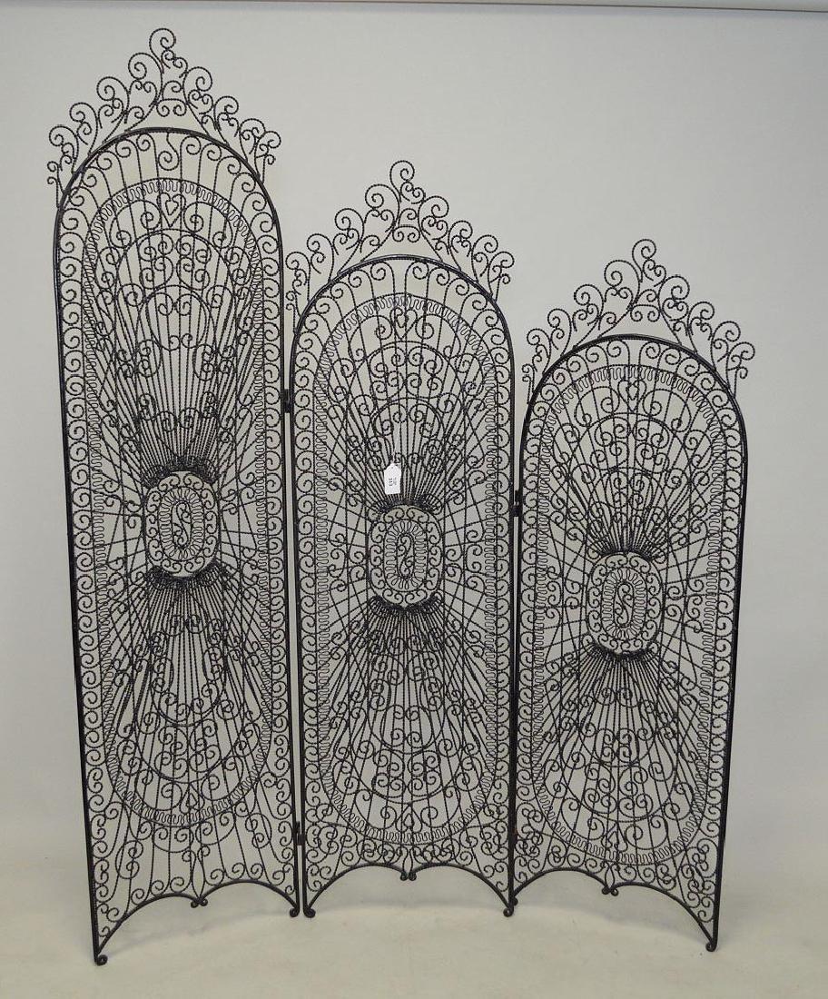 3 panel open work screen, twisted black metal in
