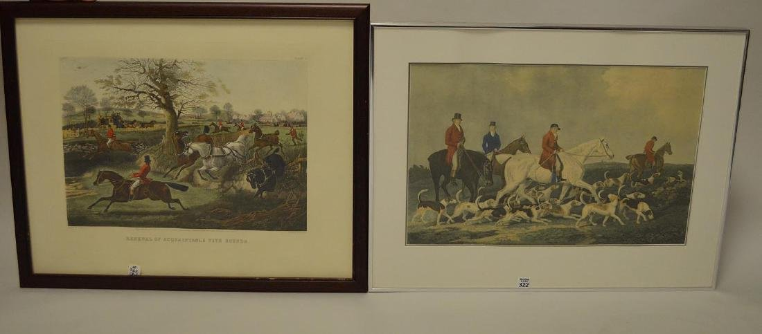 2 old Hunt scene Prints: Renewal of acquaintance with