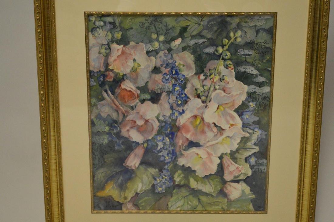 """GREER watercolor painting of """"Hollyhock Flowers in a"""