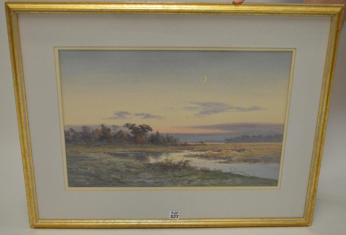 "CAPE COD MARSH, watercolor painting 14"" x 21"", signed"