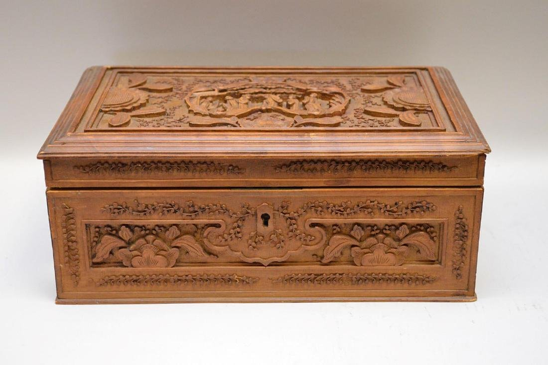 Carved Wood Chinese Jewelry Box.  The top with carved