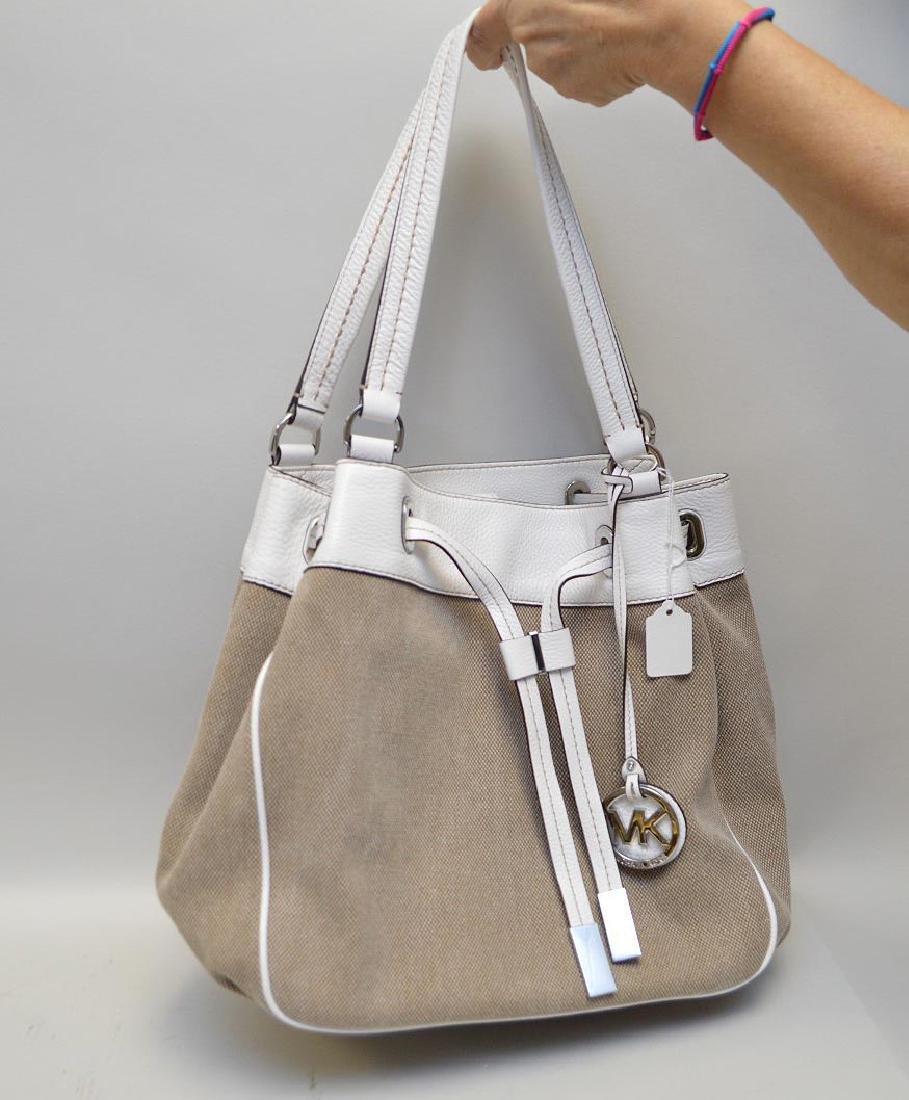 Michael Kors shoulder bag, beige canvas with white