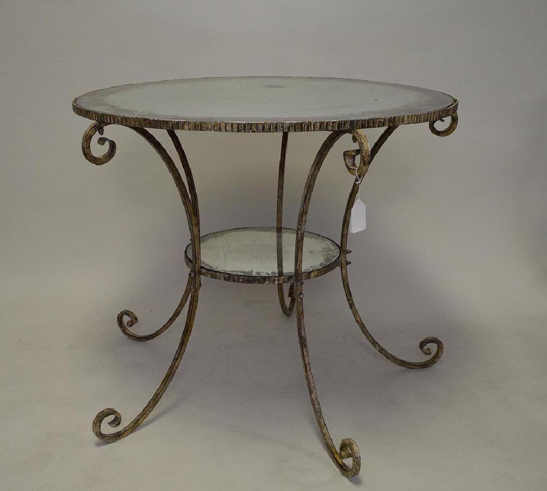 Iron and glass table with silvered finish, crimped edge