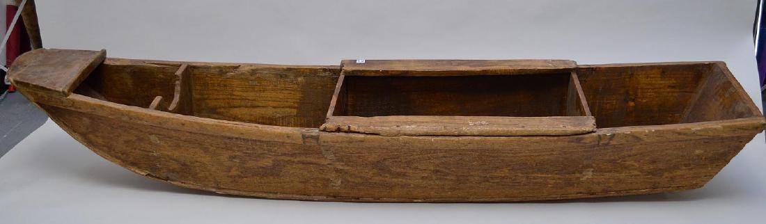 "Antique carved canoe  ""shelf"", 88""h x 19""w"
