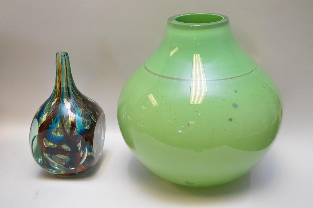 Two Art Glass Pieces Barbini Murano & American Artist -