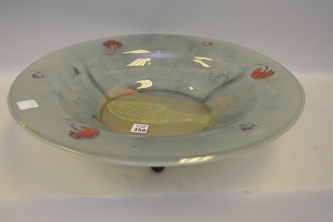 "Art glass centerpiece bowl, 5""h x 19""w"