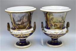 Pair Early Bloor Derby Porcelain Vases  English 19th