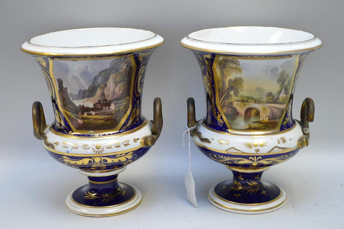 Pair Early Bloor Derby Porcelain Vases.  English 19th