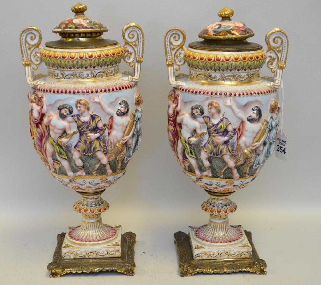 Pair Of Capodimonte Porcelain & Bronze Urns.