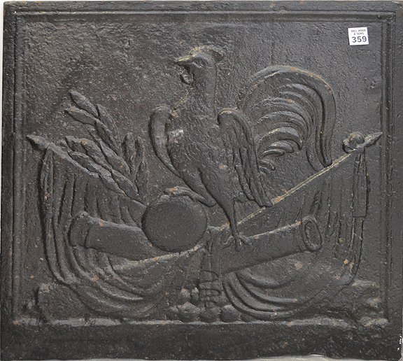 19th Century Cast Iron Fireback centered by a rooster