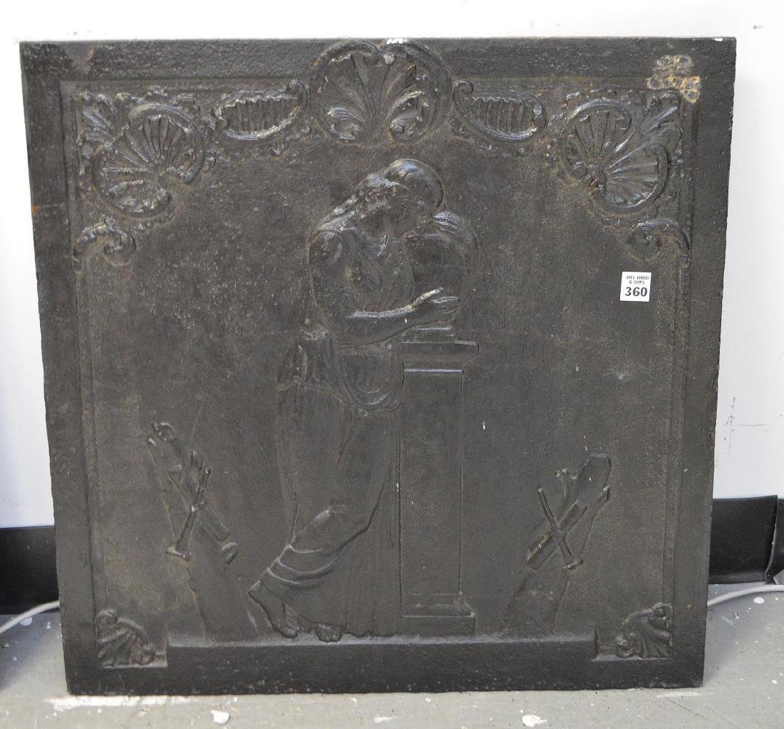 19th Century Cast Iron Fireback with classical maiden