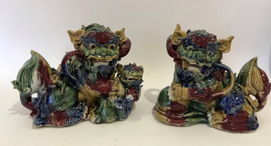 Pair of Chinese Decorative Pottery Foo Dogs