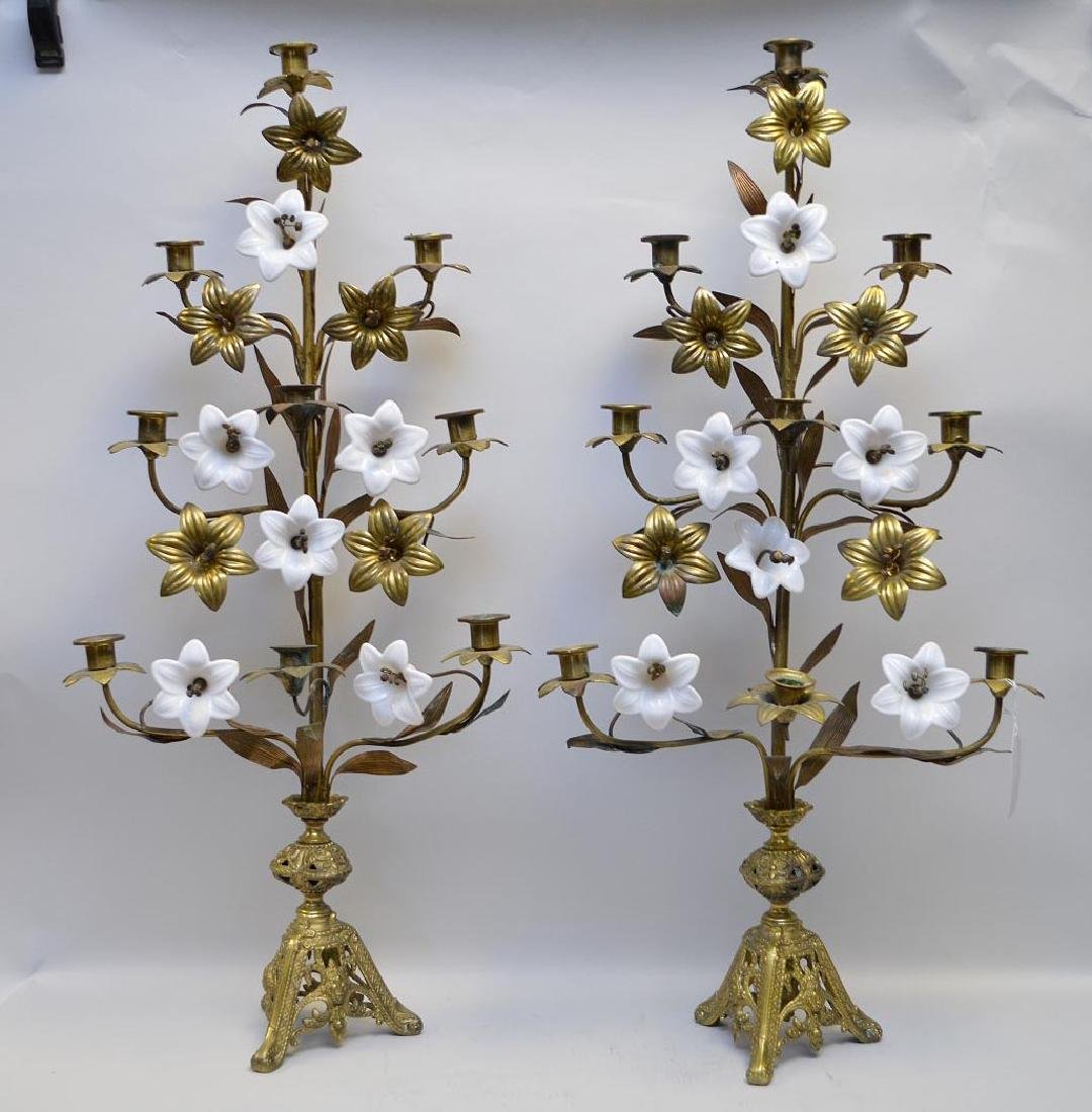 Pair 9 lite candelabra, gilt metal and opaline flowers