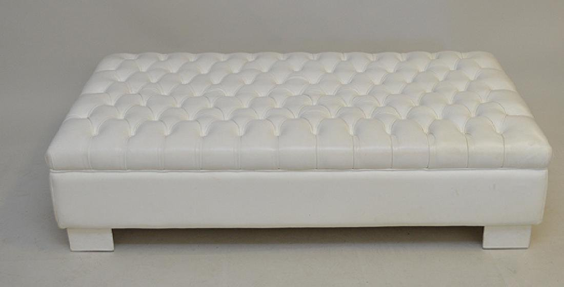 """White tufted leather ottoman, 15""""h x 57""""w x 34""""d"""