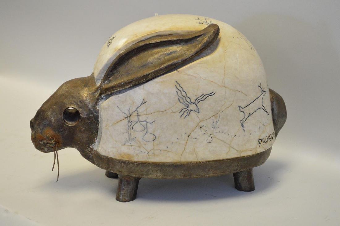 Greek Modernist Marble & Steel Rabbit Sculpture.
