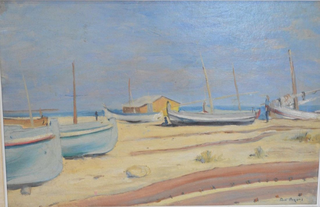 Paul Arzens, oil on board, sailboats on the beach