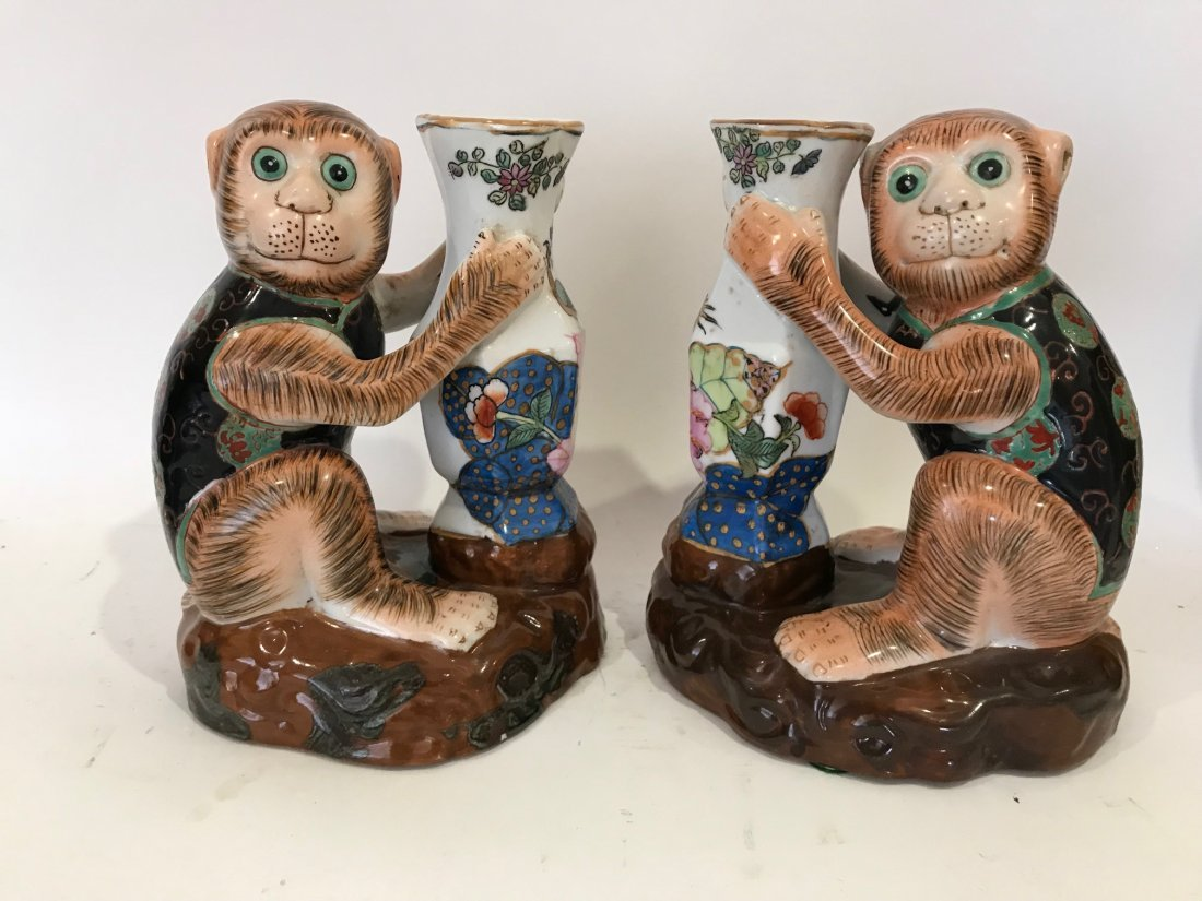Pair of Chinese Porcelain Monkey Vases, 8 x 6 inches